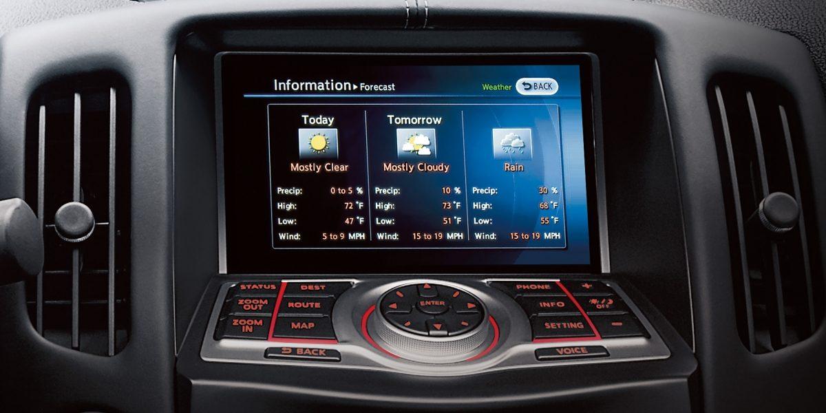 370Z شاشة لتوضح نصائح بشأن الأحوال الجوية القاسية في سيارة  نيسان