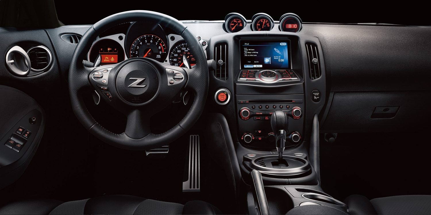 black Nissan 370z dashboard