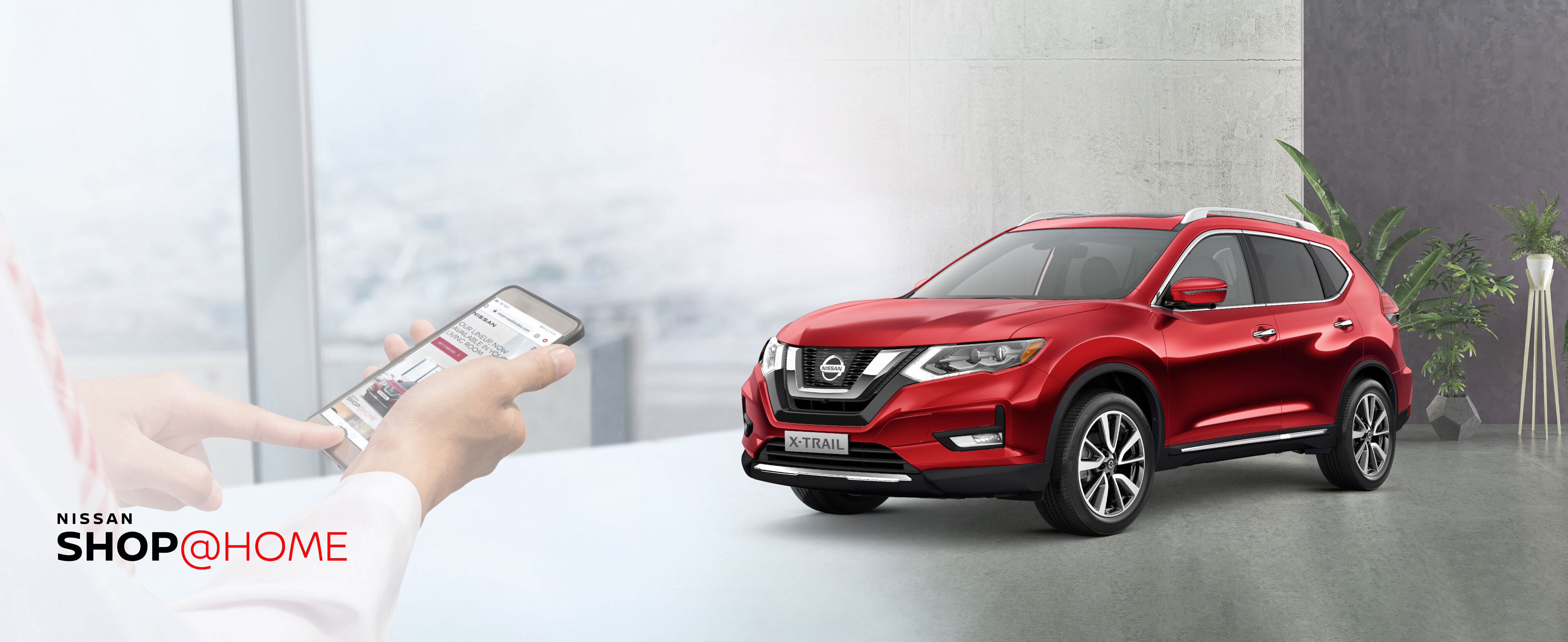 Red NISSAN X-TRAIL in the garage