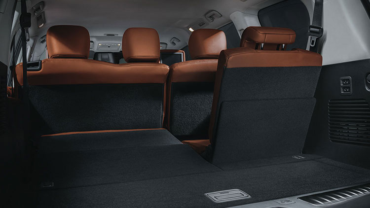 Back storage space with a seat up in 2020 NISSAN PATROL