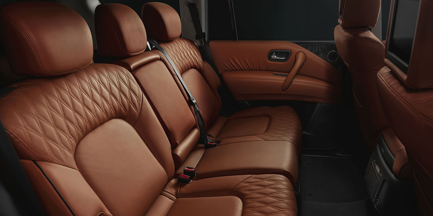 2020 NISSAN PATROL rear interior seats in tan leather