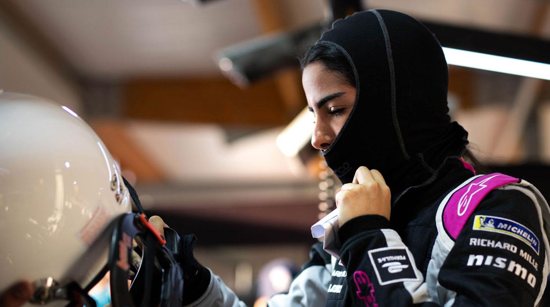 Saudi Woman in Formula outfit